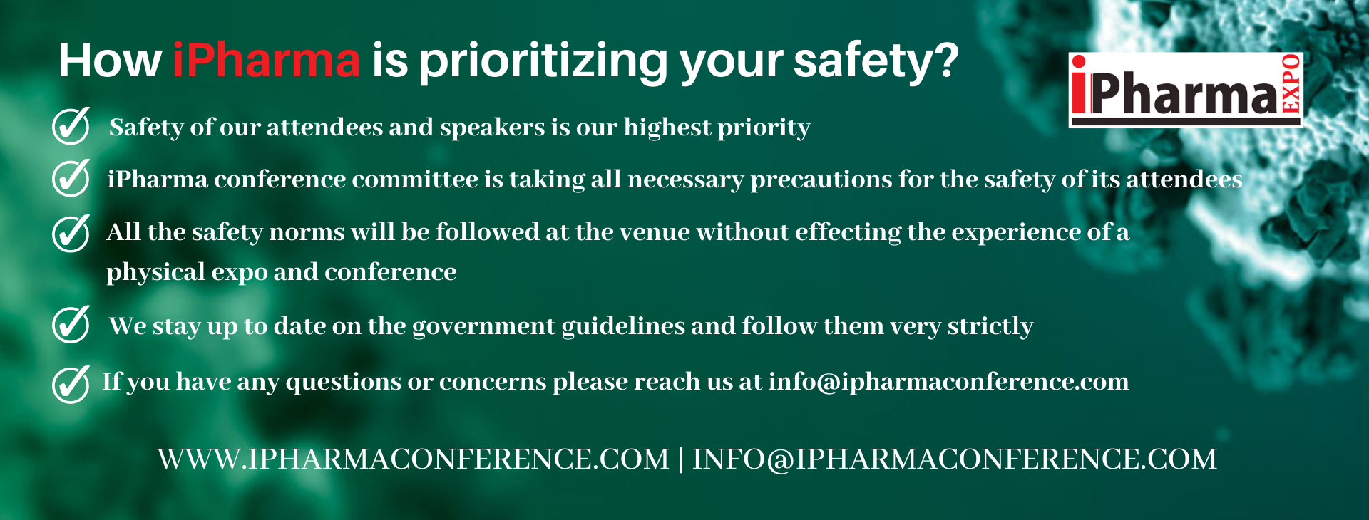 iPharma Expo safety announcement banner