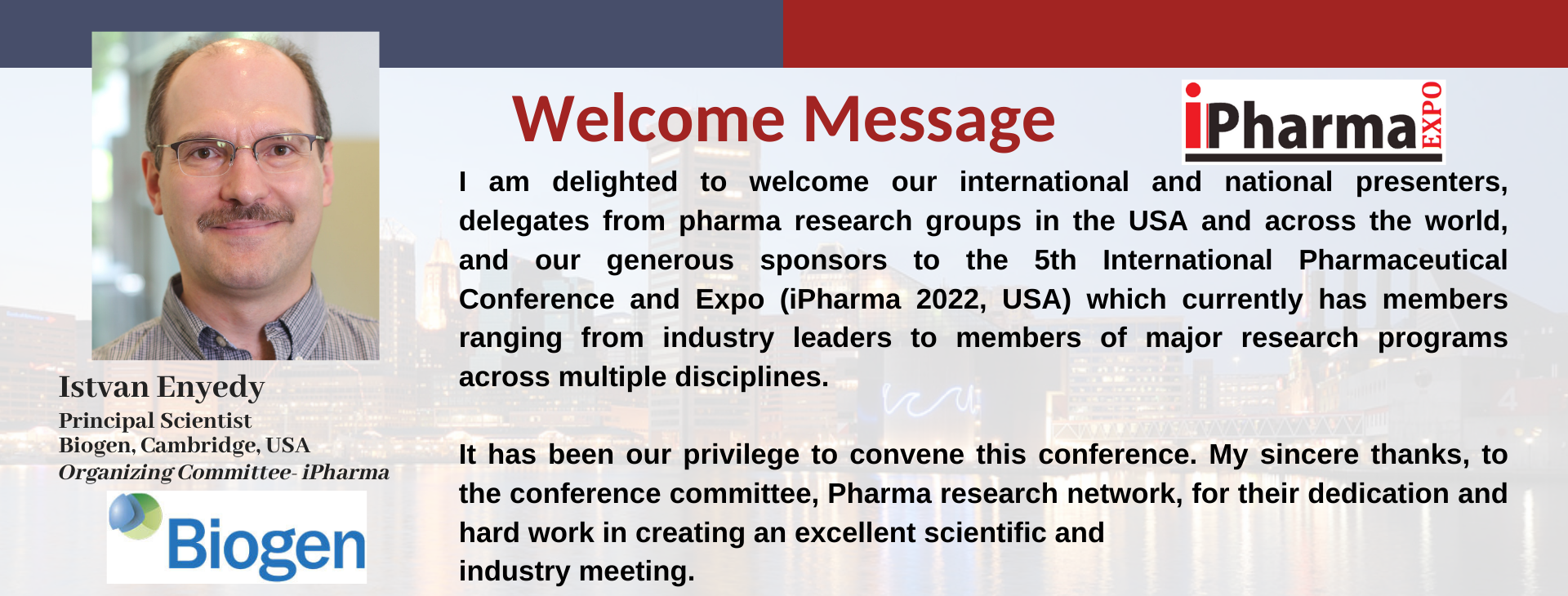 iPharma welcome message